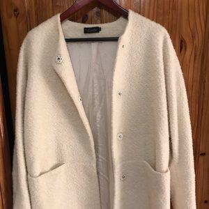 Jackets & Blazers - Women's loose fit buckle wool coat